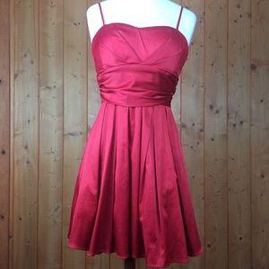 Vintage Red Satin Fit & Flare Christmas Dress L